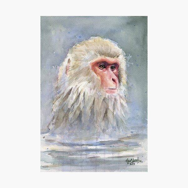 Snow monkey Watercolor  Photographic Print