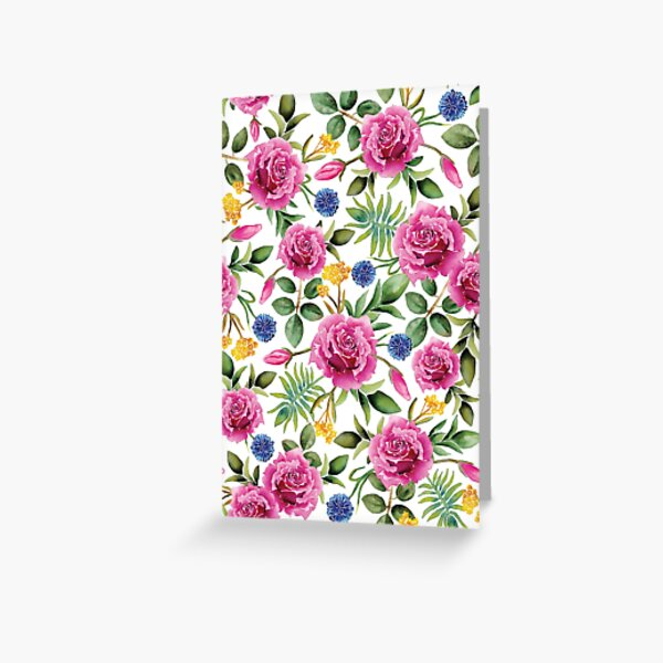 Watercolor Roses - Pink, Blue, Yellow & Green Floral/Botanical Pattern Greeting Card