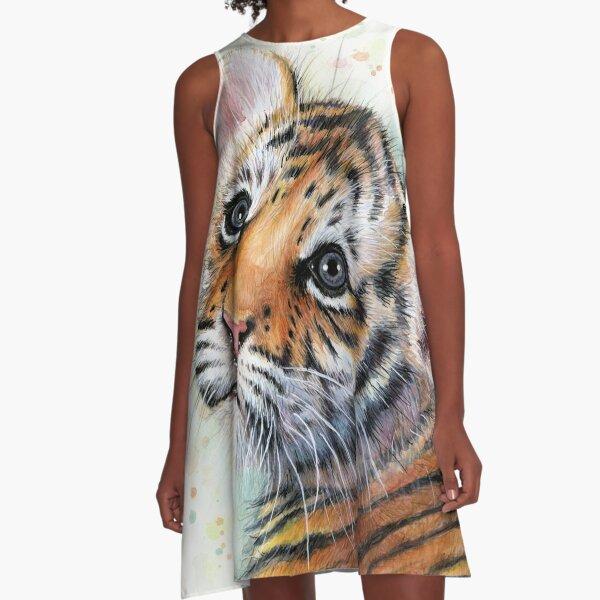 Tiger Cub Watercolor Painting Kids Illustration Nursery Art print A-Line Dress