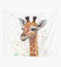 Baby Giraffe Watercolor Painting, Nursery Art Tapestry