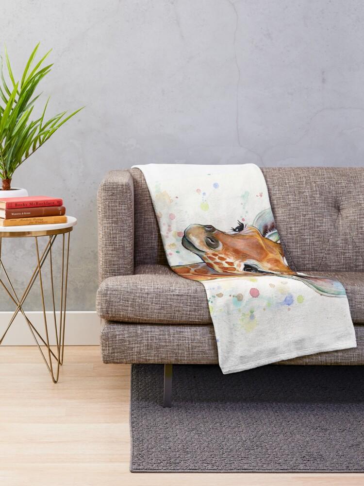 Alternative Ansicht von Baby-Giraffe-Aquarell-Malerei, Kinderzimmer-Kunst Fleecedecke