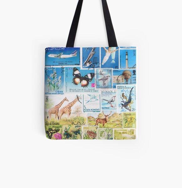 Giraffe Safari - Postage Stamp Landscape All Over Print Tote Bag