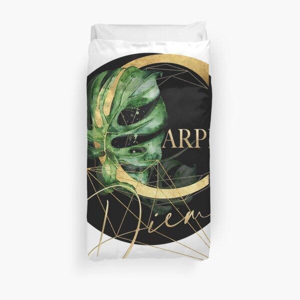 Carpe Diem – Inspiring quote in gold. Duvet Cover