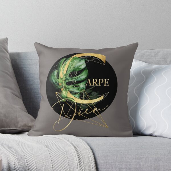 Carpe Diem – Inspiring quote in gold. Throw Pillow