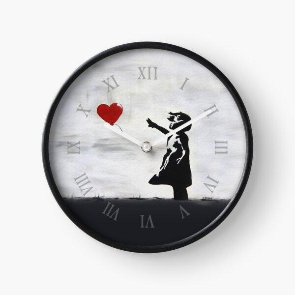 Banksy Girl avec graffiti de ballon en cœur MUR ORIGINAL street art HD BOUTIQUE EN LIGNE DE HAUTE QUALITÉ Horloge