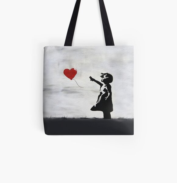 Banksy Girl with heart balloon graffiti ORIGINAL WALL street art HD HIGH QUALITY ONLINE STORE All Over Print Tote Bag