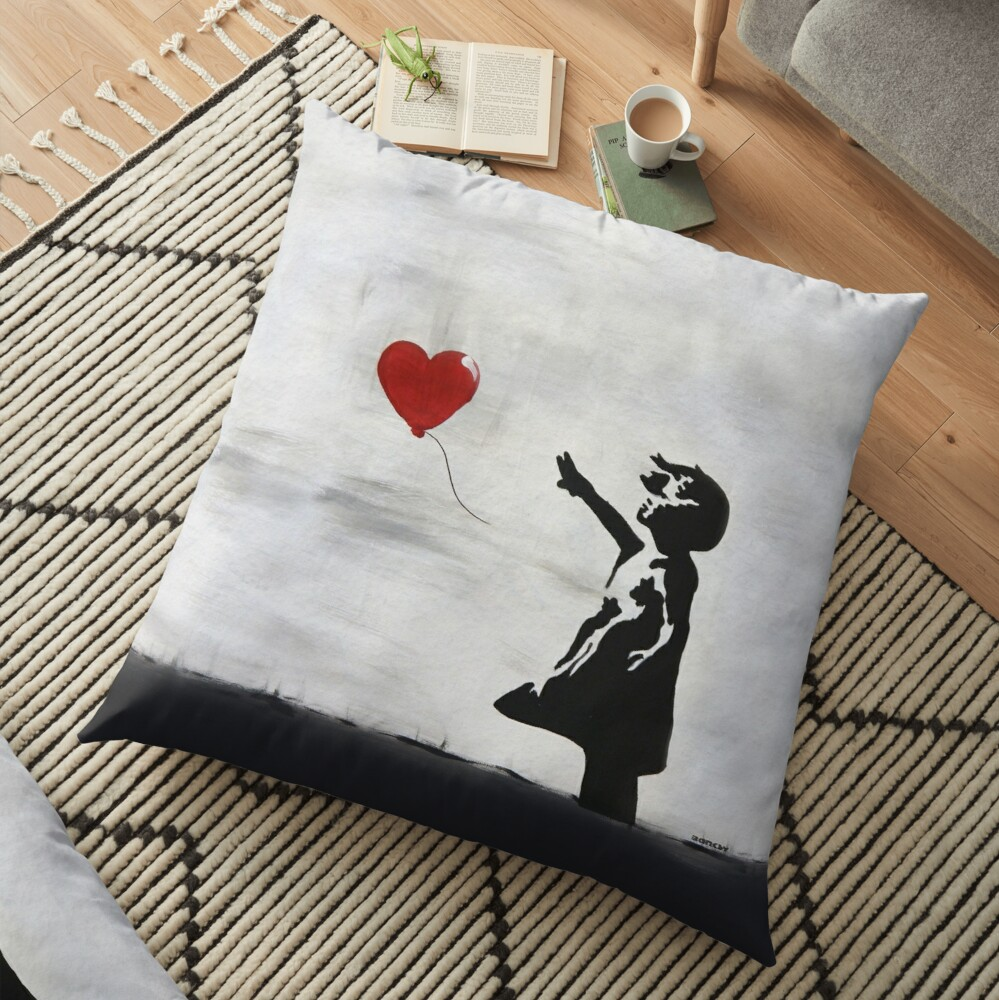 Banksy Girl with heart balloon graffiti ORIGINAL WALL street art HD HIGH QUALITY ONLINE STORE Floor Pillow