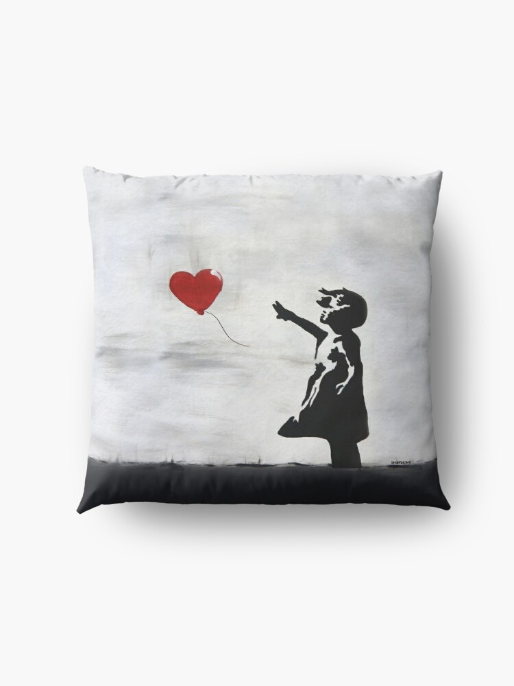 Alternate view of Banksy Girl with heart balloon graffiti ORIGINAL WALL street art HD HIGH QUALITY ONLINE STORE Floor Pillow