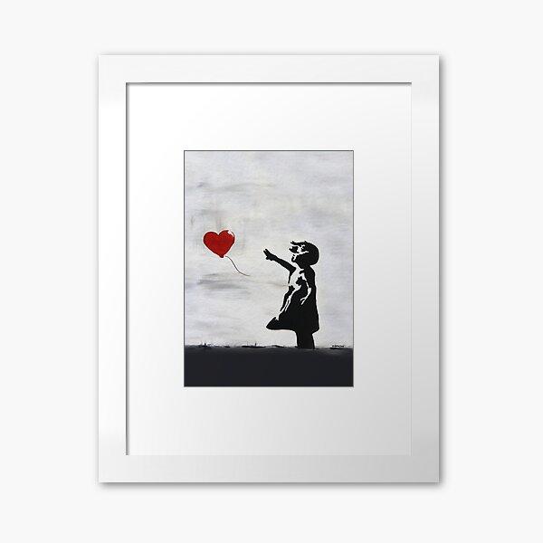 Banksy Girl with heart balloon graffiti ORIGINAL WALL street art HD HIGH QUALITY ONLINE STORE Framed Art Print