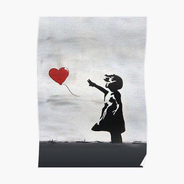 Banksy Girl with heart balloon graffiti ORIGINAL WALL street art HD HIGH QUALITY ONLINE STORE Poster