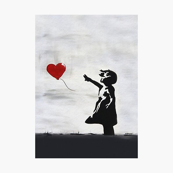 Banksy Girl with heart balloon graffiti ORIGINAL WALL street art HD HIGH QUALITY ONLINE STORE Photographic Print