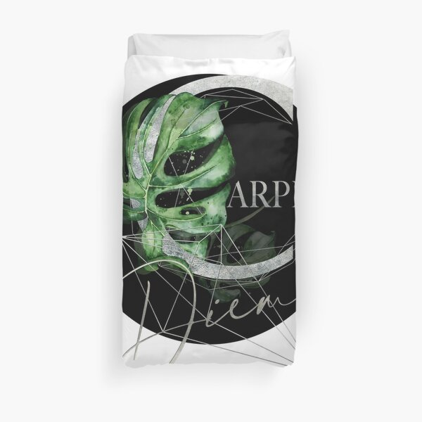 Carpe Diem – Inspiring quote in silver Duvet Cover