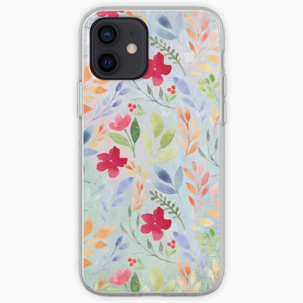Floral Script Pattern - Blue Periwinkle iPhone Soft Case