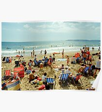 A busy Bournemouth beach, England, 1980s Poster