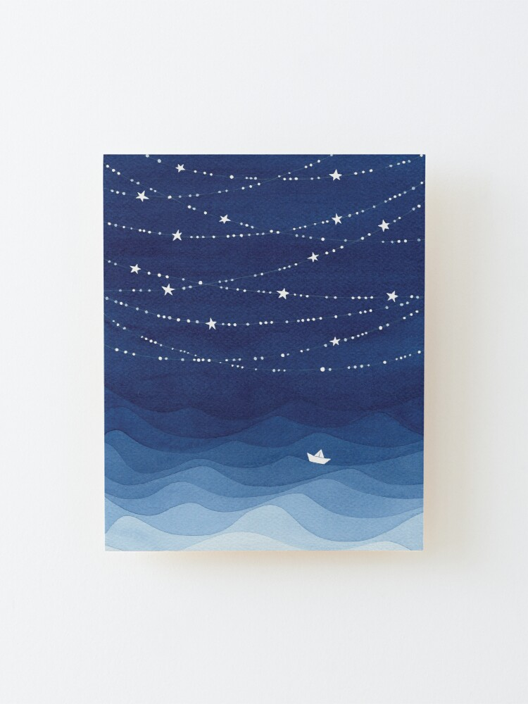 Alternate view of Garland of Stars IV, nautical watercolor Mounted Print