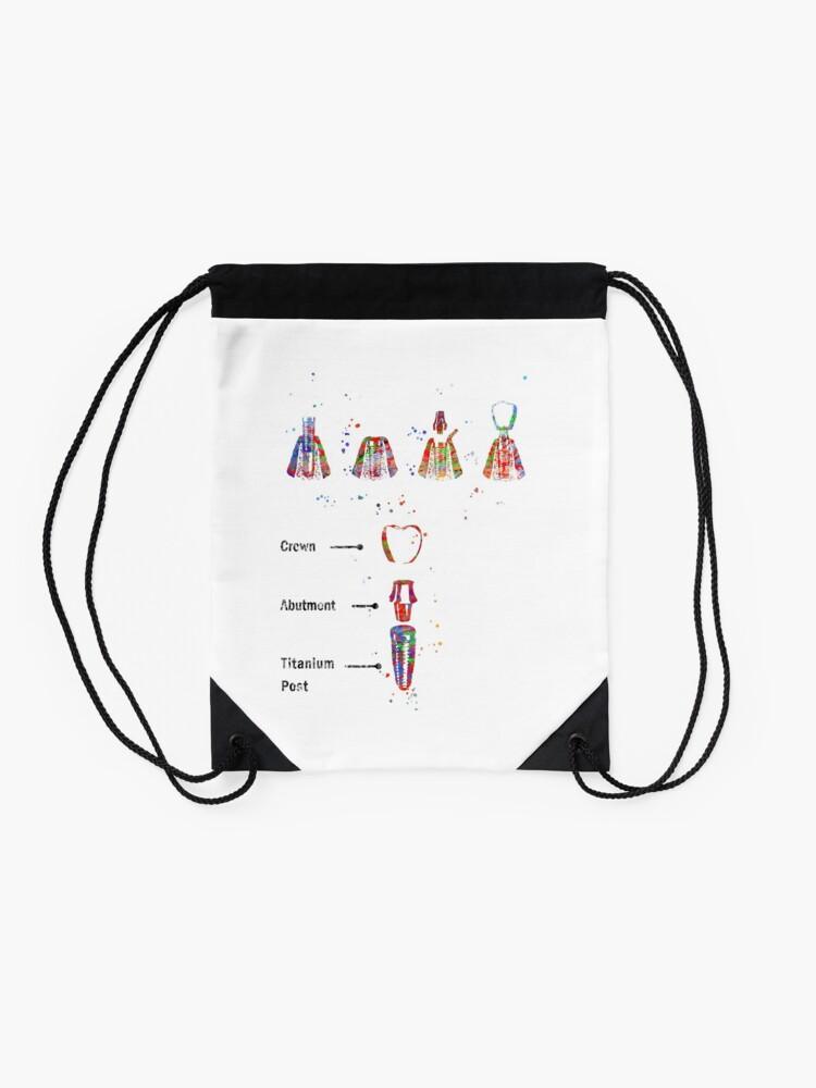 Alternate view of Dental implant procedure, dental anatomy, dental implant Drawstring Bag