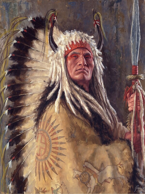 black rock two kettle chief, native american art, james ayers, Greeting card