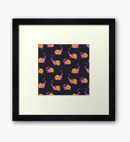 pink elephant summer flower Framed Print