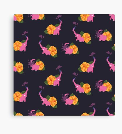 pink elephant summer flower Canvas Print
