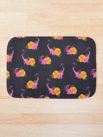 pink elephant summer flower Bath Mat