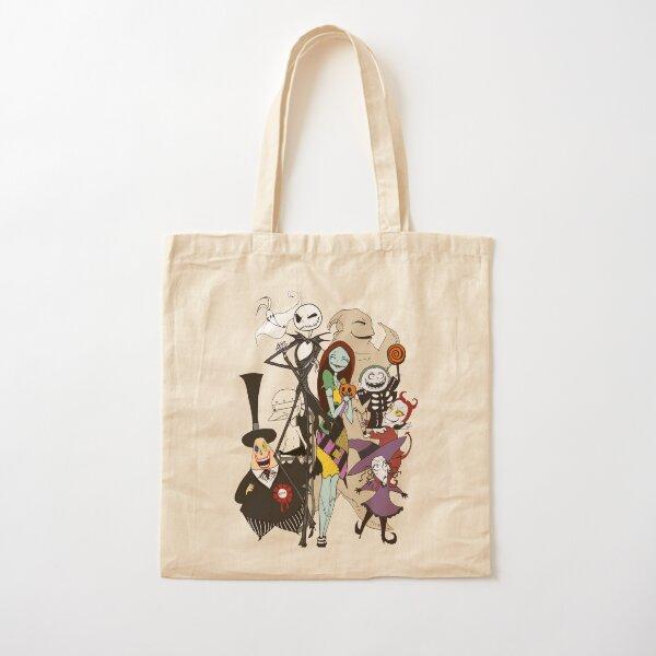 Embroidered  Nightmare before Christmas tote bag Jack and Sally reusable shopping bag