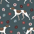 Whippet and flowers by lobitos
