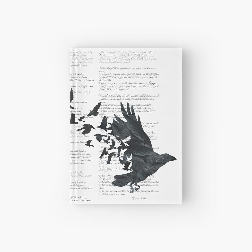 Vintage Style Print with Poem Text Edgar Alan Poe: Edgar Alan Crow Hardcover Journal