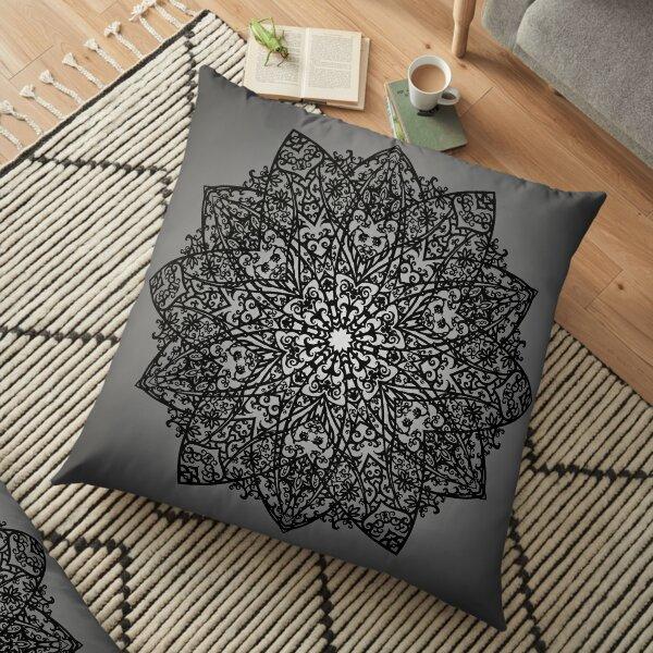 Filigree Mandala *black & grey* Floor Pillow