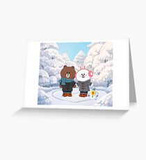 Brown bear and cony bunny rabbit winter love Greeting Card