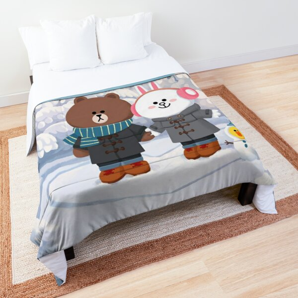 Brown bear and cony bunny rabbit winter love Comforter