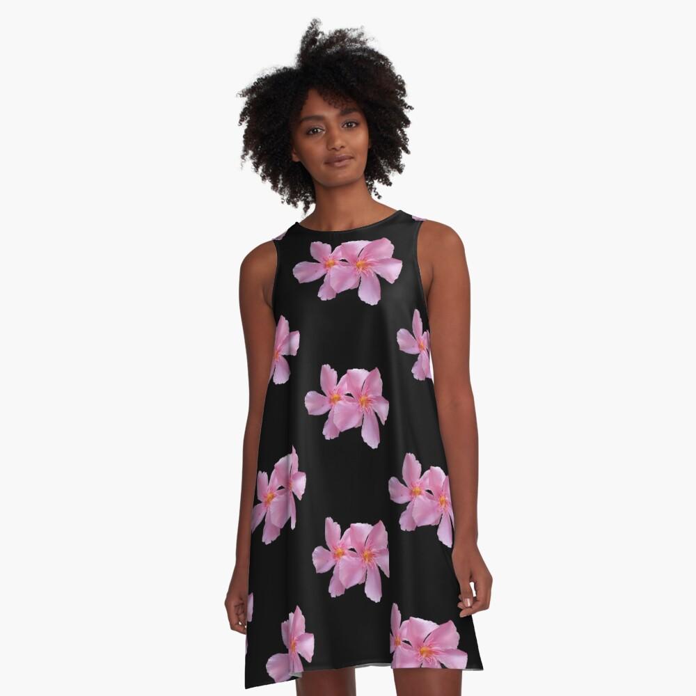 einzigartige, blühende pinke Blumen, Blüten,  A-Linien Kleid