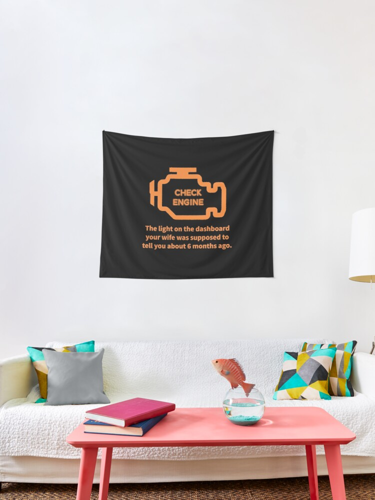 Repair Shop Car Check Engine Light Auto Mechanic Garage Print Tapestry By Tronictees Redbubble