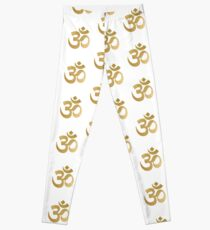 a766c071dc Gold and white om sign Leggings