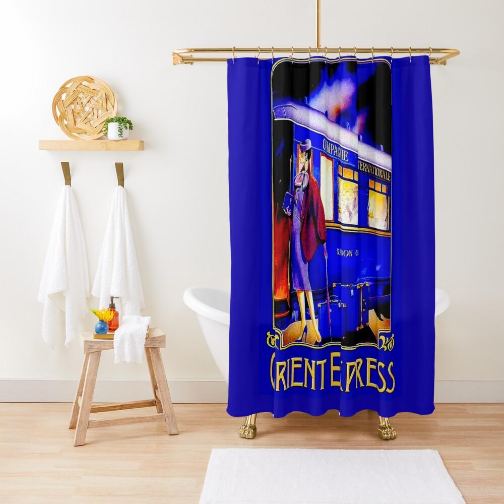 ORIENT EXPRESS: Vintage Train Passenger Travel Print Shower Curtain
