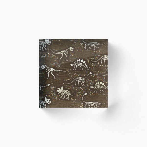 Dinosaur Fossils - cream on brown - Fun graphic pattern by Cecca Designs Acrylic Block
