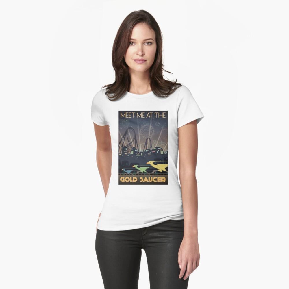 Final Fantasy VII Gold Untertasse Reiseplakat Tailliertes T-Shirt