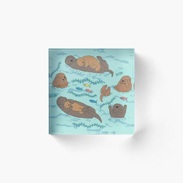 Sea Otters - cute animal pattern by Cecca Designs Acrylic Block