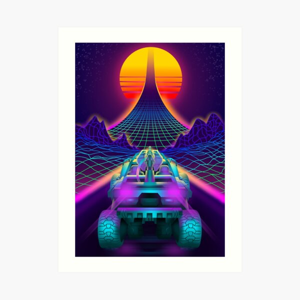 Outrun Retrowave Warthog Halo Ring Art Print