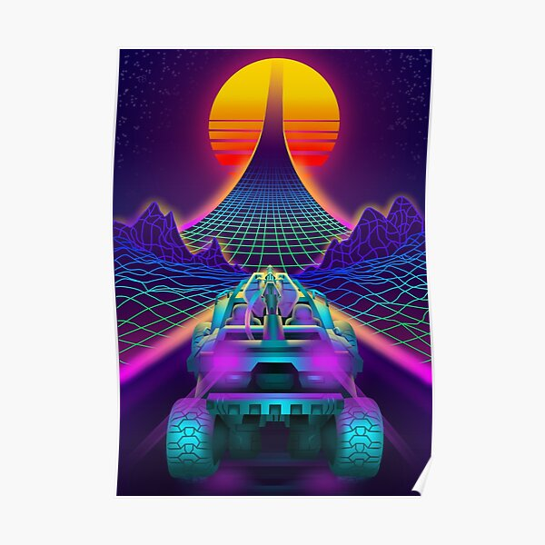 Outrun Retrowave Warthog Halo Ring Poster