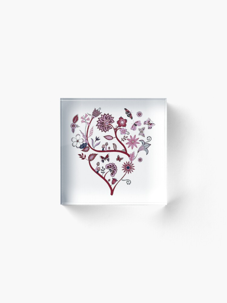Alternate view of Fantasy Indian Floral - elegant, romantic pattern by Cecca Designs Acrylic Block