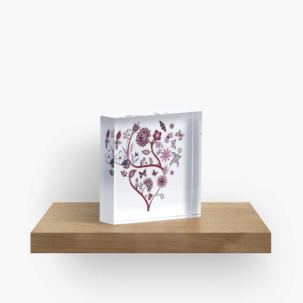Fantasy Indian Floral - elegant, romantic pattern by Cecca Designs Acrylic Block