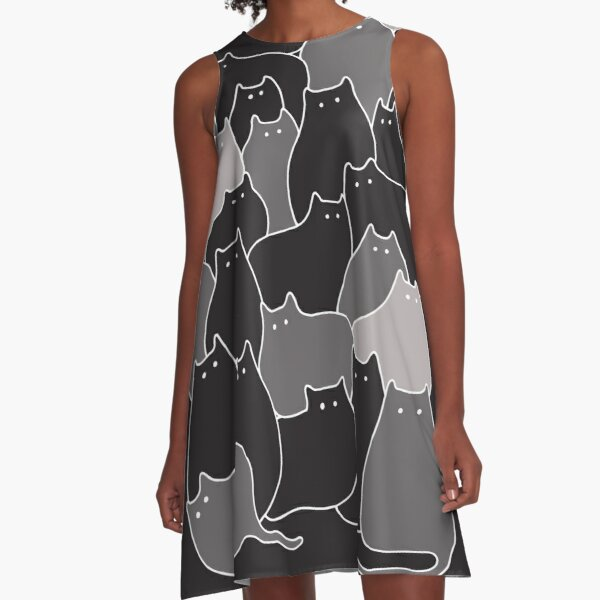 Lots of Cats (Grey) A-Line Dress