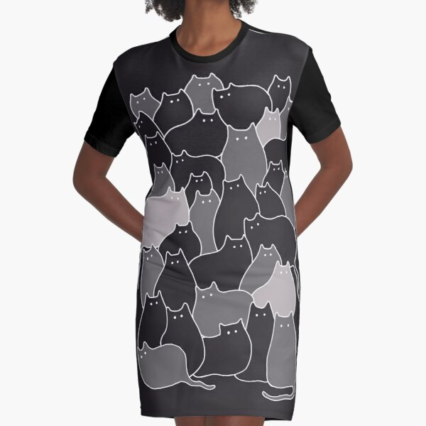 Lots of Cats (Grey) Graphic T-Shirt Dress