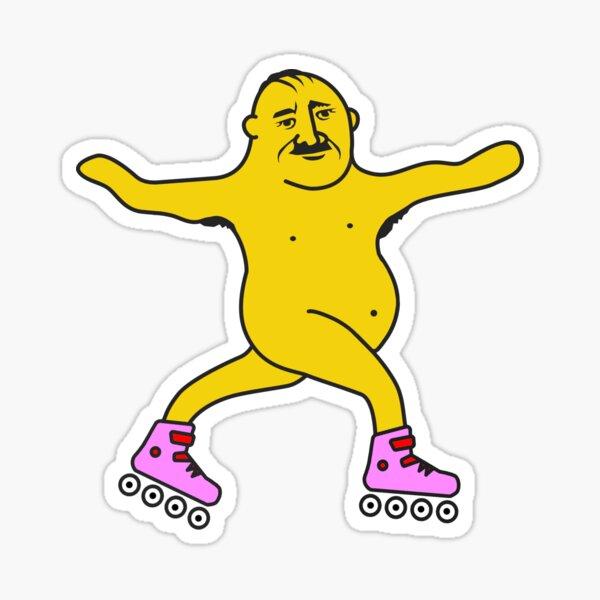 Body positive dude is having fun roller skating Sticker