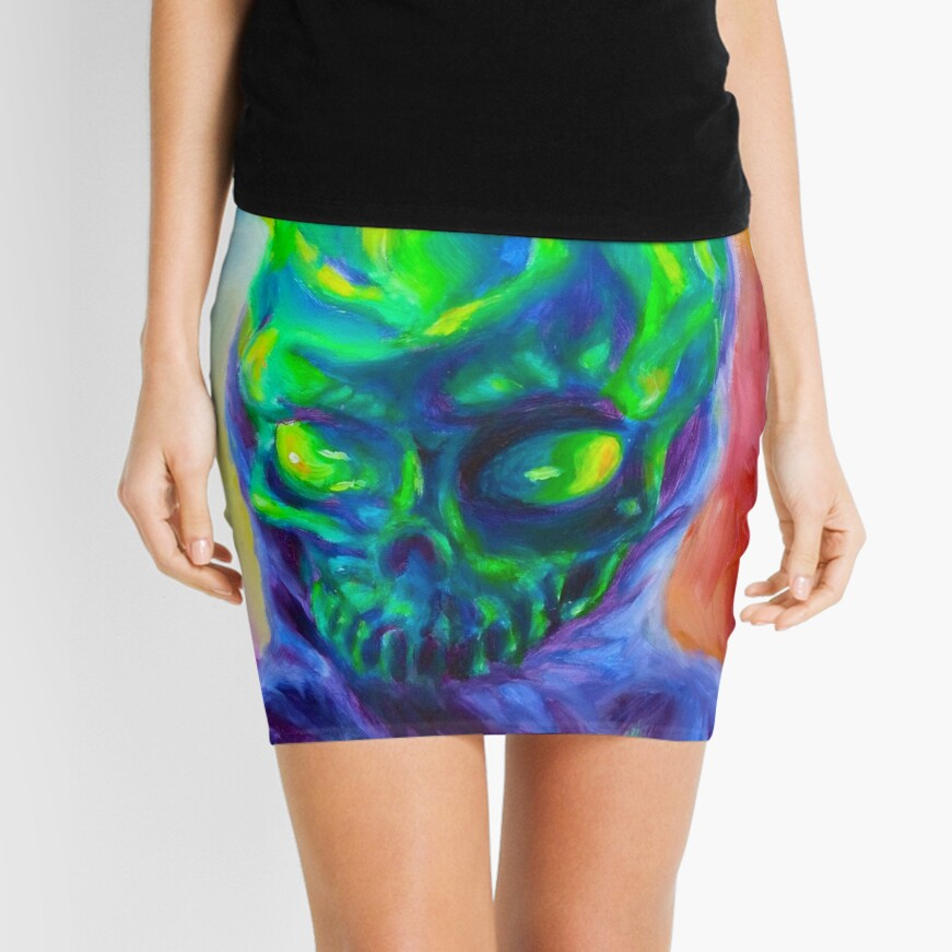 Burn His House Down Acrylic Painting Mini Skirt