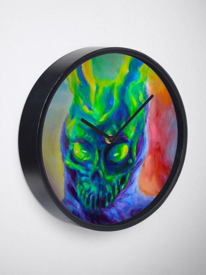 Alternate view of Burn His House Down Acrylic Painting Clock