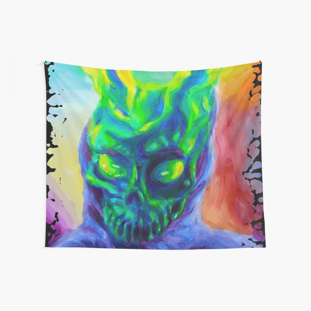 Burn His House Down Acrylic Painting Wall Tapestry
