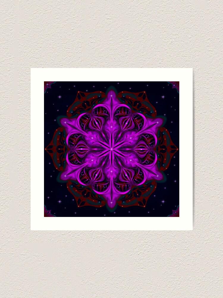 Alternate view of Spaceborne Orchid Snowflake Art Print