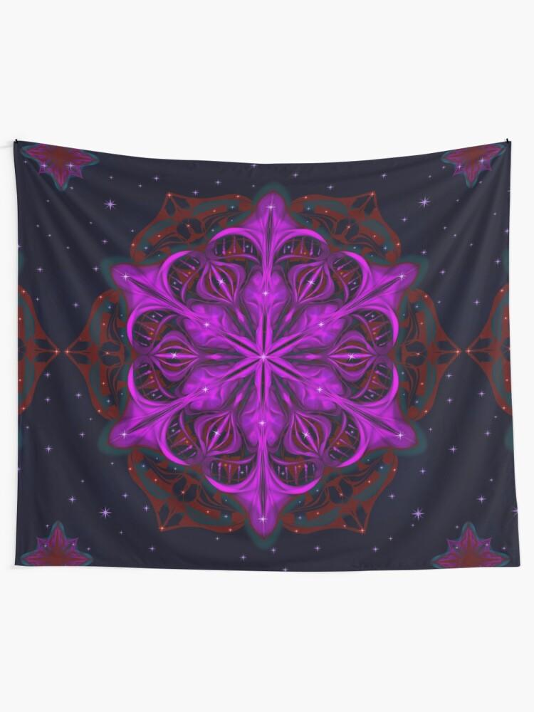 Alternate view of Spaceborne Orchid Snowflake Tapestry