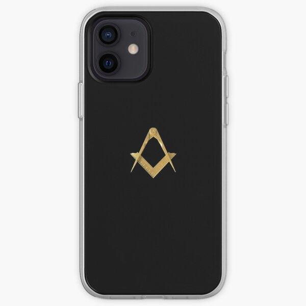 Freemason Gold Square & Compass Black Background Masonic iPhone Soft Case